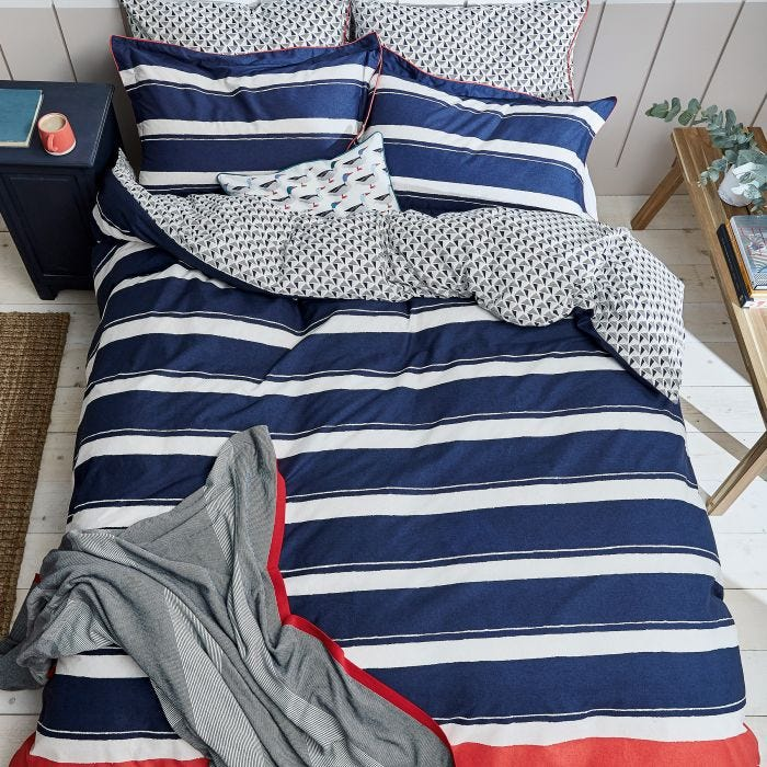 Galley Grade Stripe Super Kingsize Duvet Cover, Navy
