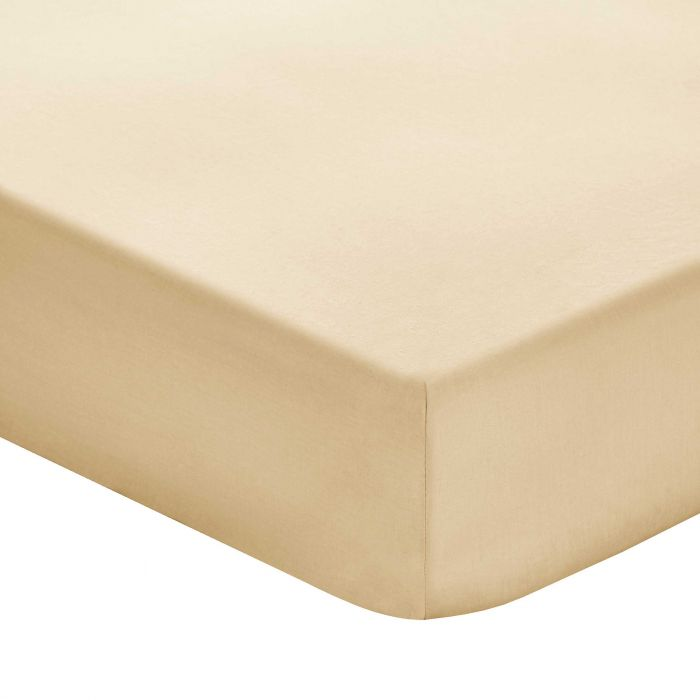 Plain Gold Double Fitted Sheets