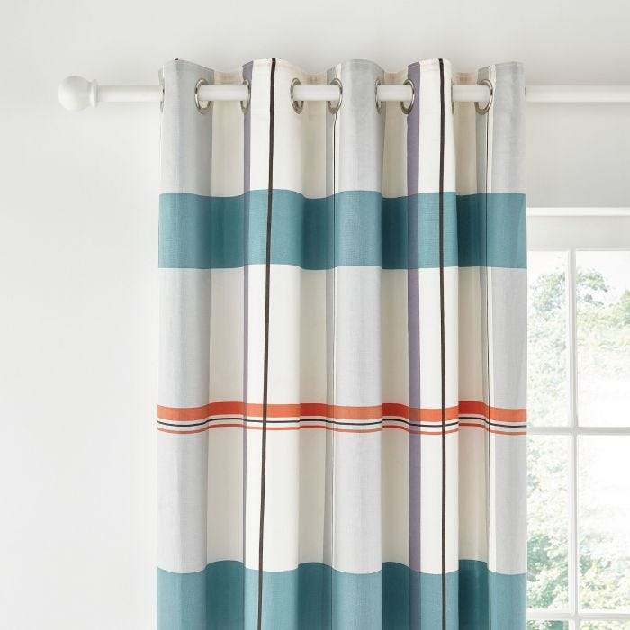 Klint Coral Lined Eyelet Curtains.