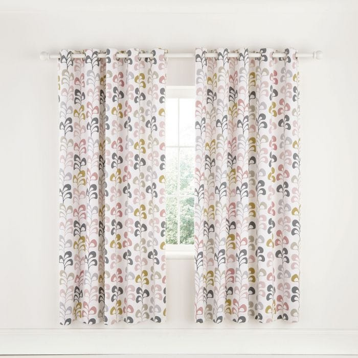 Liv Lined Blush Eyelet Curtains.
