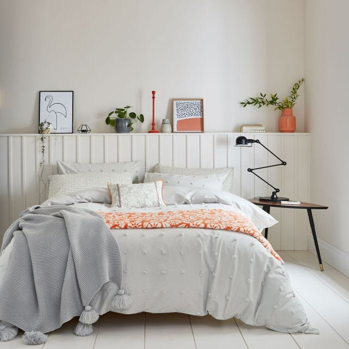 Silver Bedding with Woven Spots