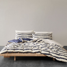 Blackwork Indigo Stripe Bedding
