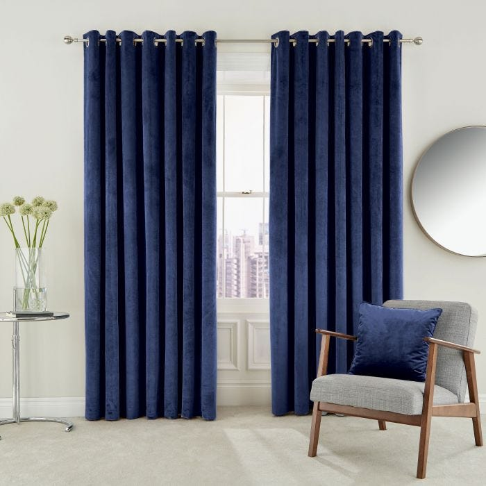 Eden Lined Curtains Electric Blue