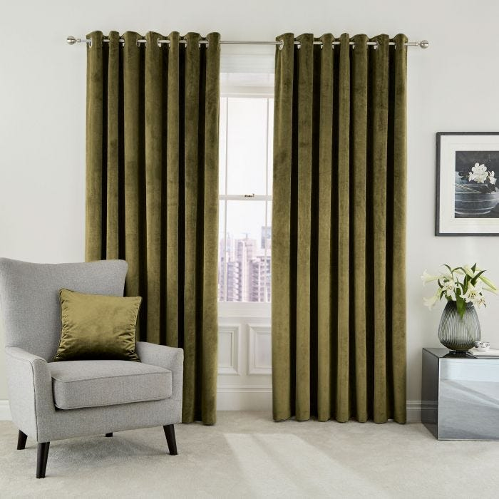 Escala Lined Curtains Olive