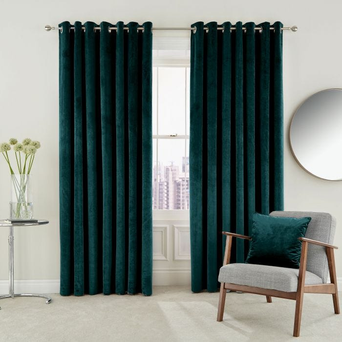 Escala Lined Curtains Teal