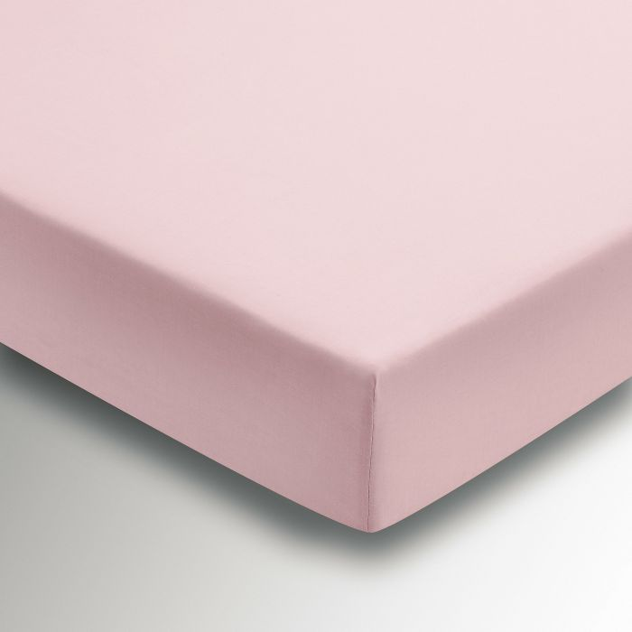 50/50 Plain Dye Percale Double Fitted Sheet Blush
