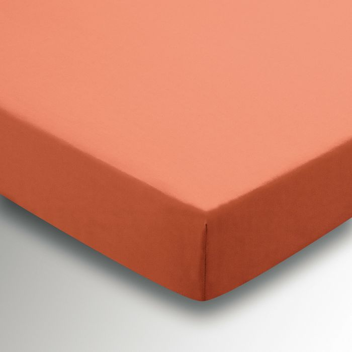 50/50 Plain Dye Percale Super Kingsize Fitted Sheet Coral