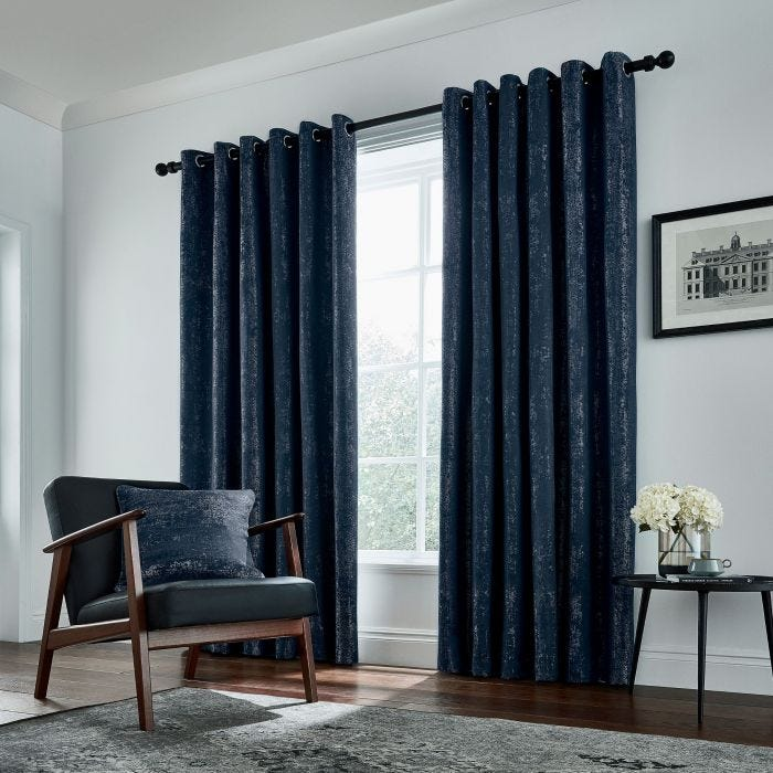 Roma Lined Curtains Navy