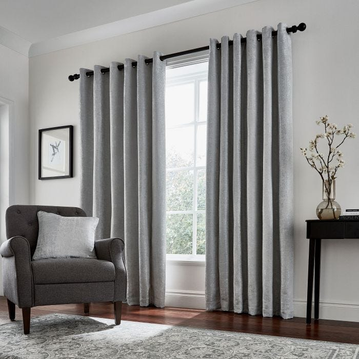 Roma Lined Curtains Silver