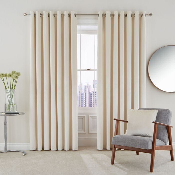 Escala Oyster Lined Eyelet Curtains