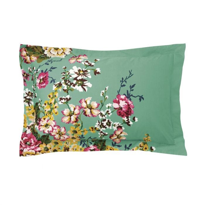 Joules Cambridge Floral Oxford Pillowcase Mineral Green