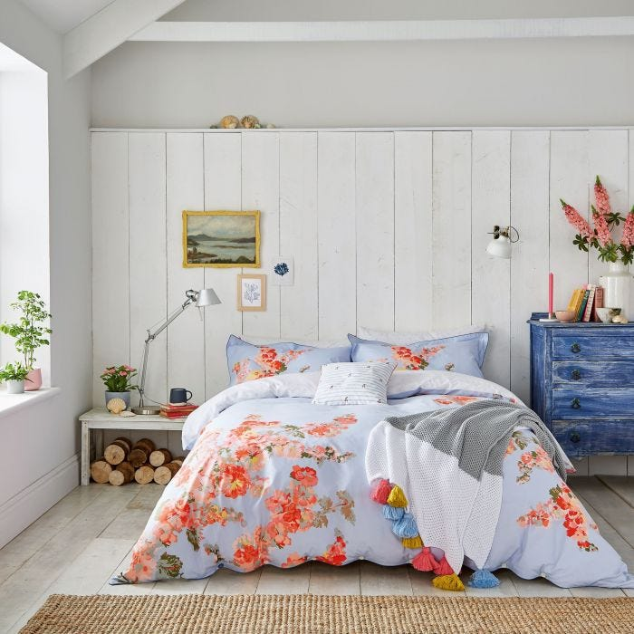 Joules Hollyhock Floral Blue Bedding