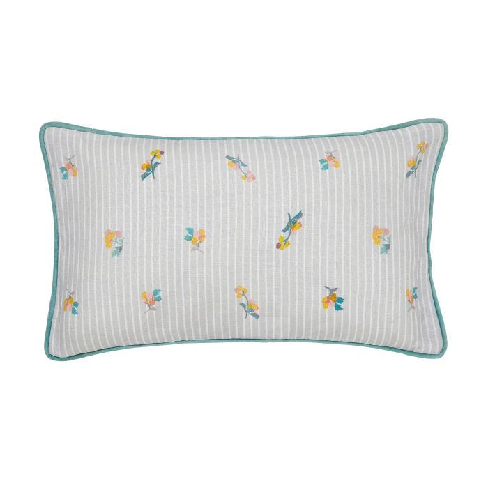 Grey Pinstripe Cushion with Florals