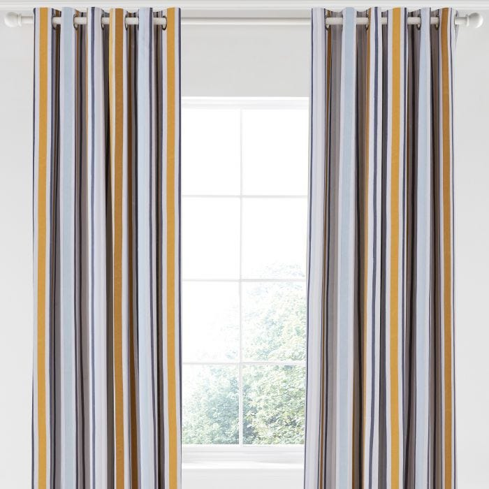 "Lintu Lined Curtains, 66"" x 90"", Ring Top, Dandelion & Pebble"