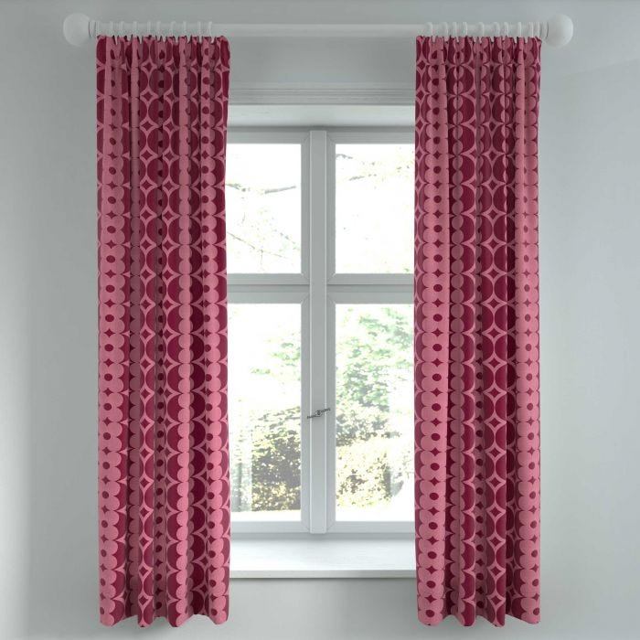 "Lula Lined Curtains, 66"" x 72"", Tape Top, Berry"