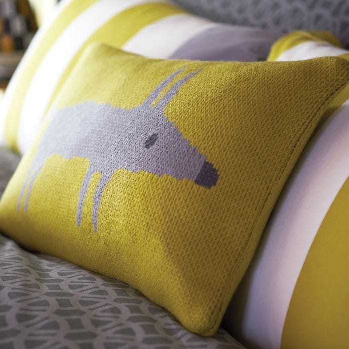 Mr Fox Yellow Knitted Cushion