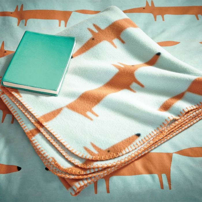 Mr Fox Fleece Throw Aqua