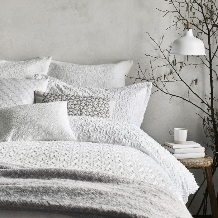 Nara White Textured Bedding