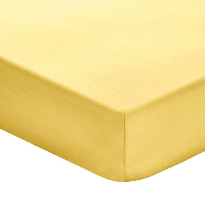 Plain Ochre Super Kingsize Fitted Sheets