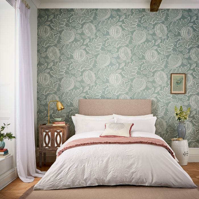 Sanderson Ivory Embroidered Bedding, Cantaloupe