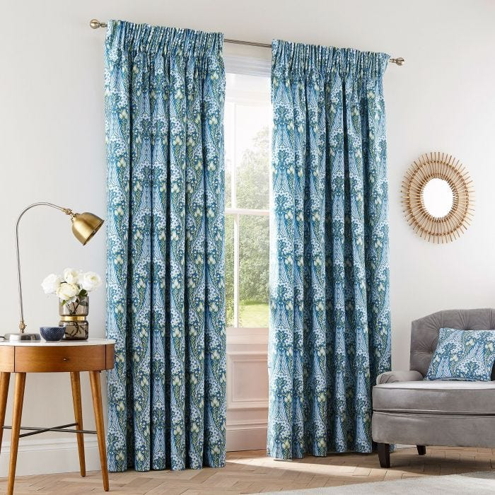 Alyssum Blue Lined Tape Top Curtains