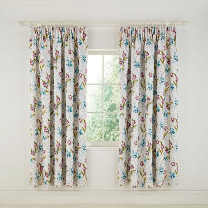 Spring Tulips Aqua Lined Curtains