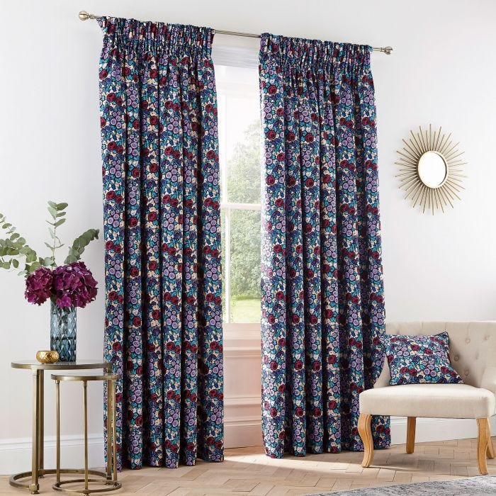 Twilight Garden Pair of Lined Curtains
