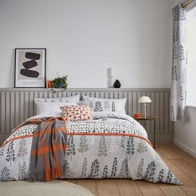 Dahl Tree Pattern Bedding in Grey & Orange
