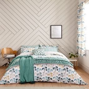 Liv Leaf Pattern Bedding in Teal