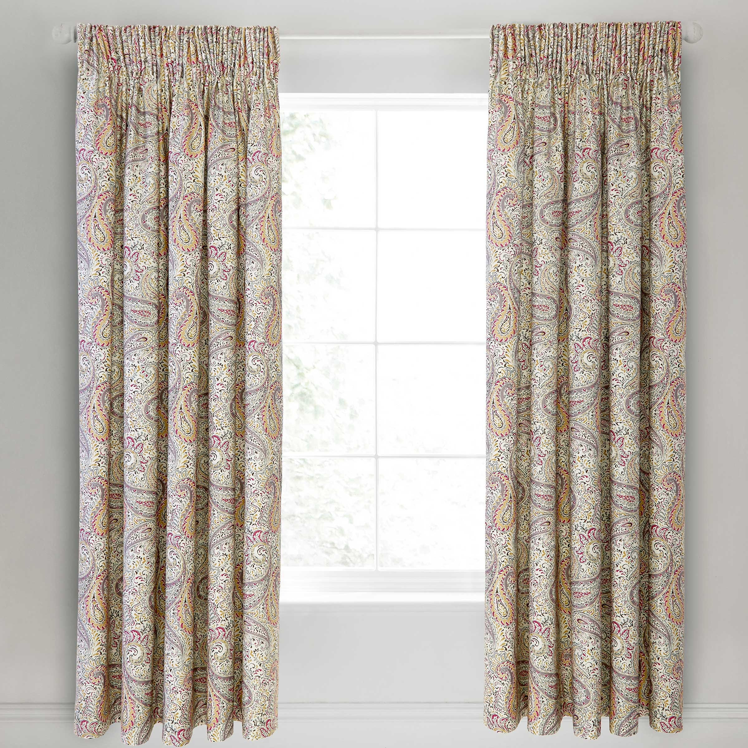 Bedeck 1951 Damara Lined Curtains 90x90 , Magenta