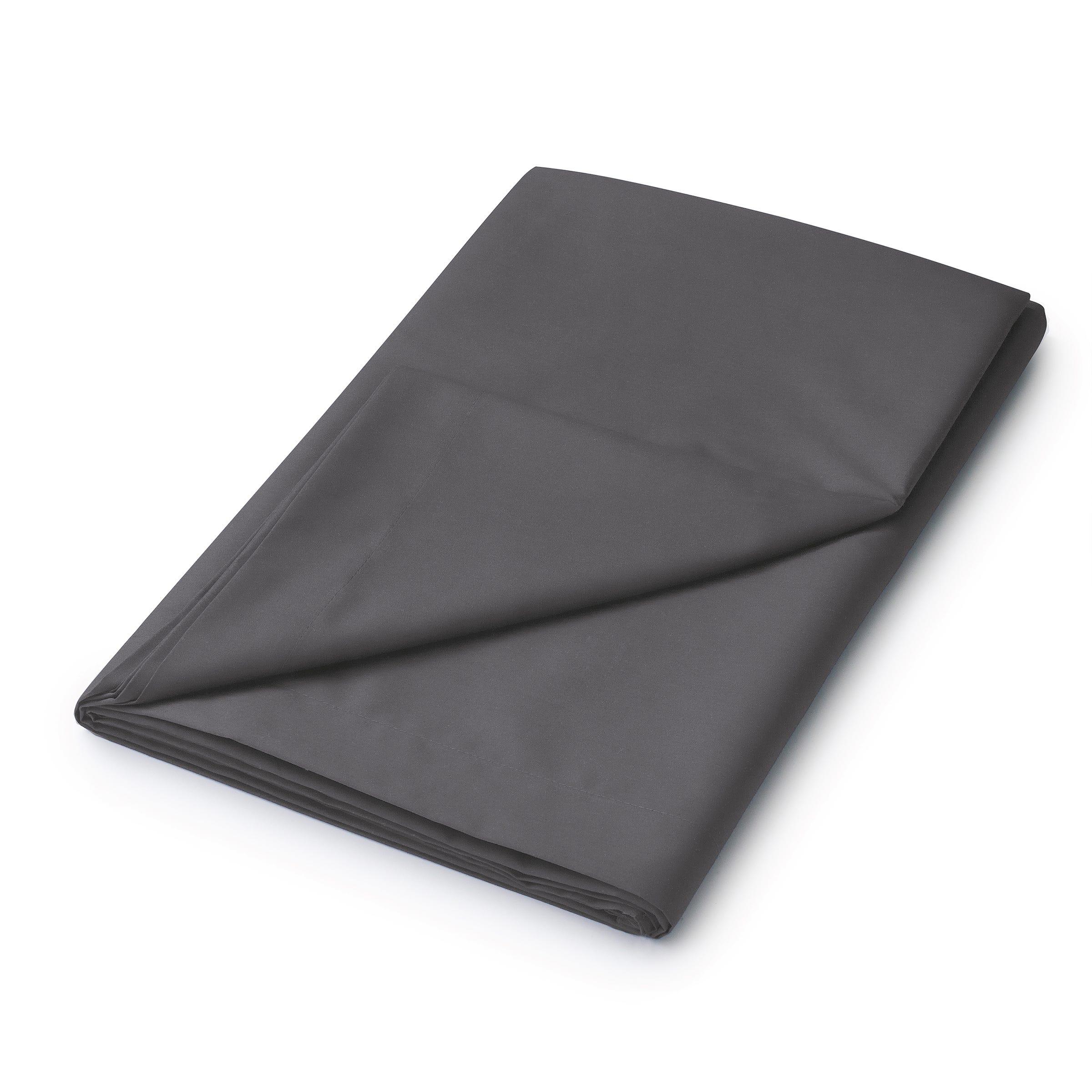 50/50 Plain Dye Percale Single Flat Sheet, Charcoal