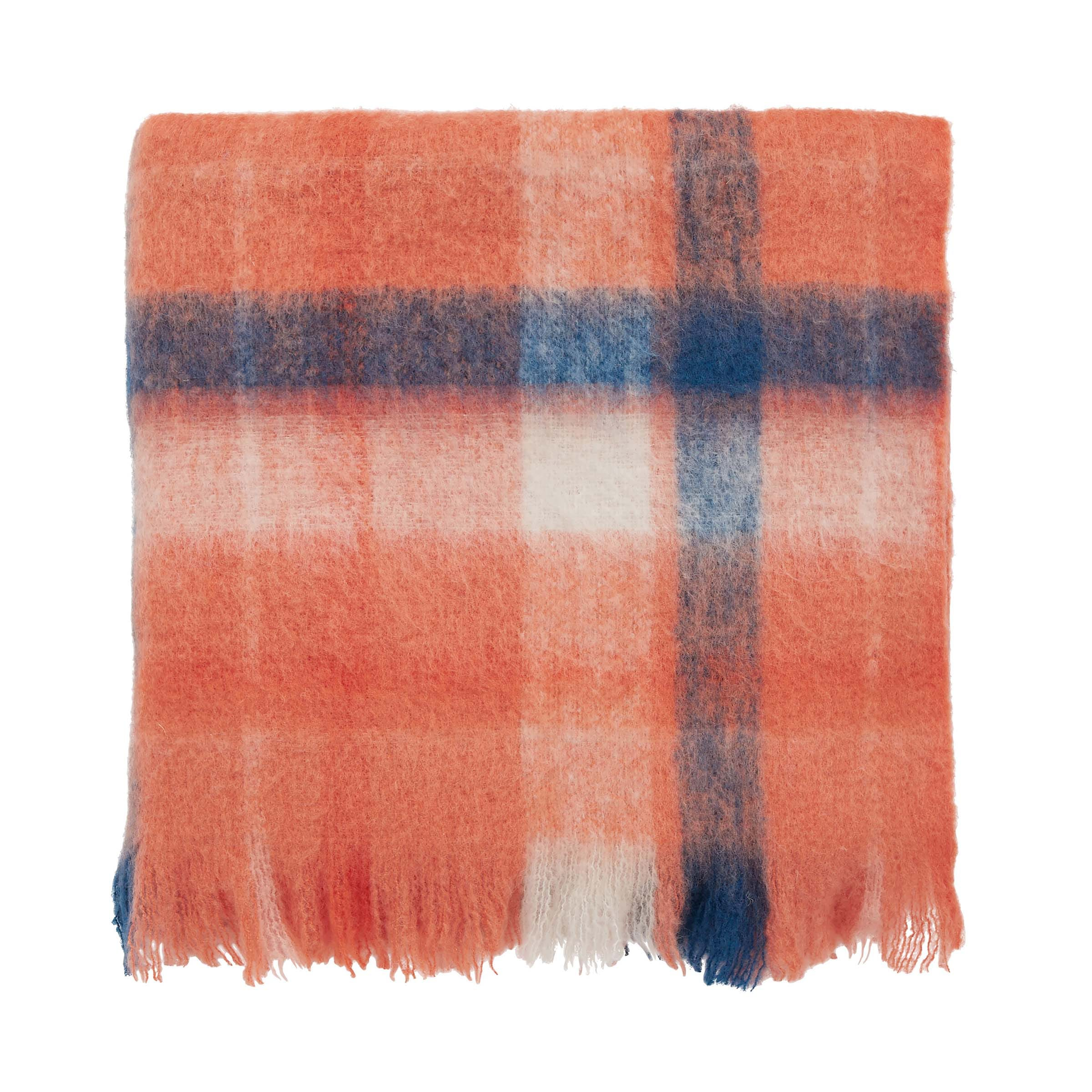 Joules Woodland Check Woven Throw, Rust