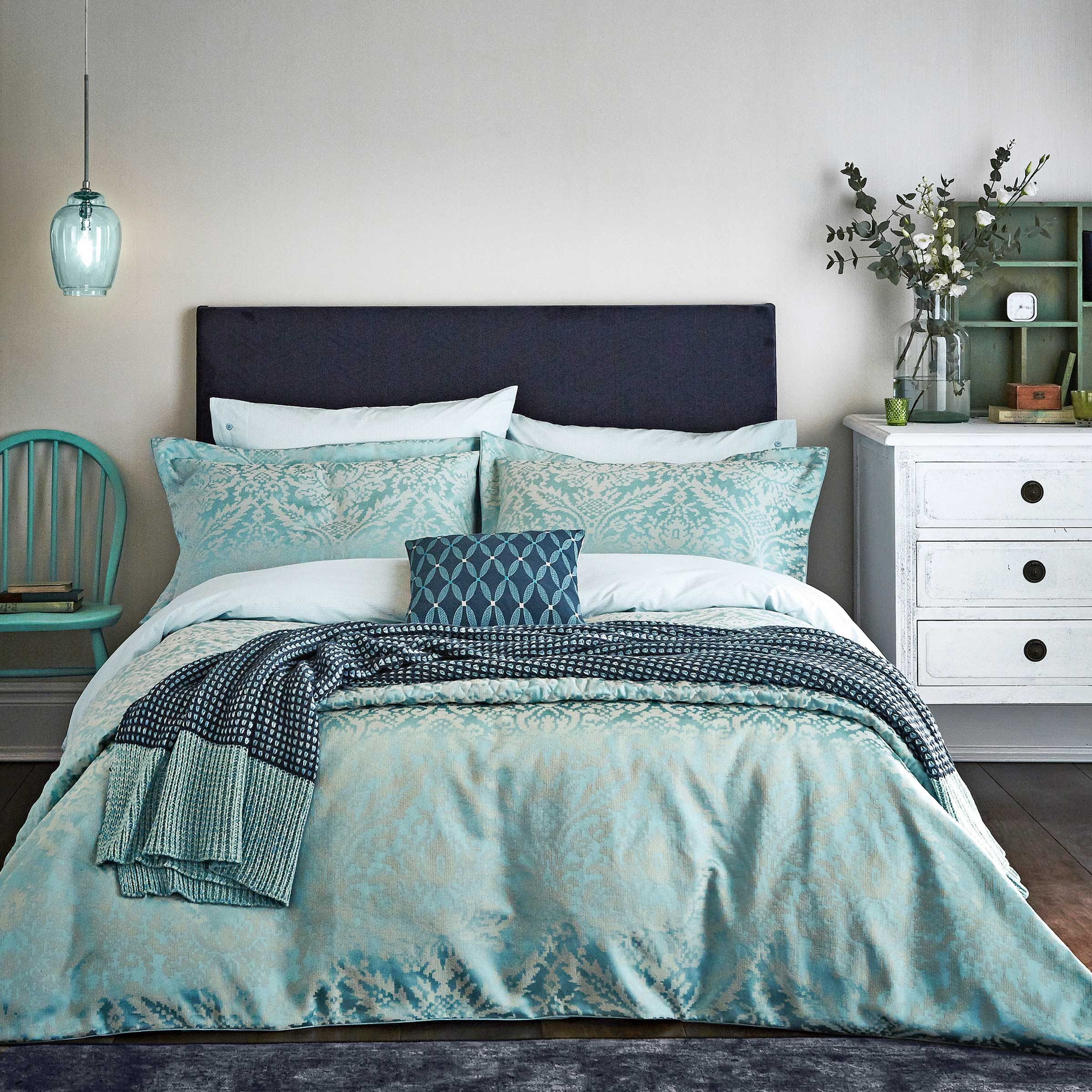 Bedeck 1951 Bedding - Loya Duvet Cover Super Kingsize - Mint