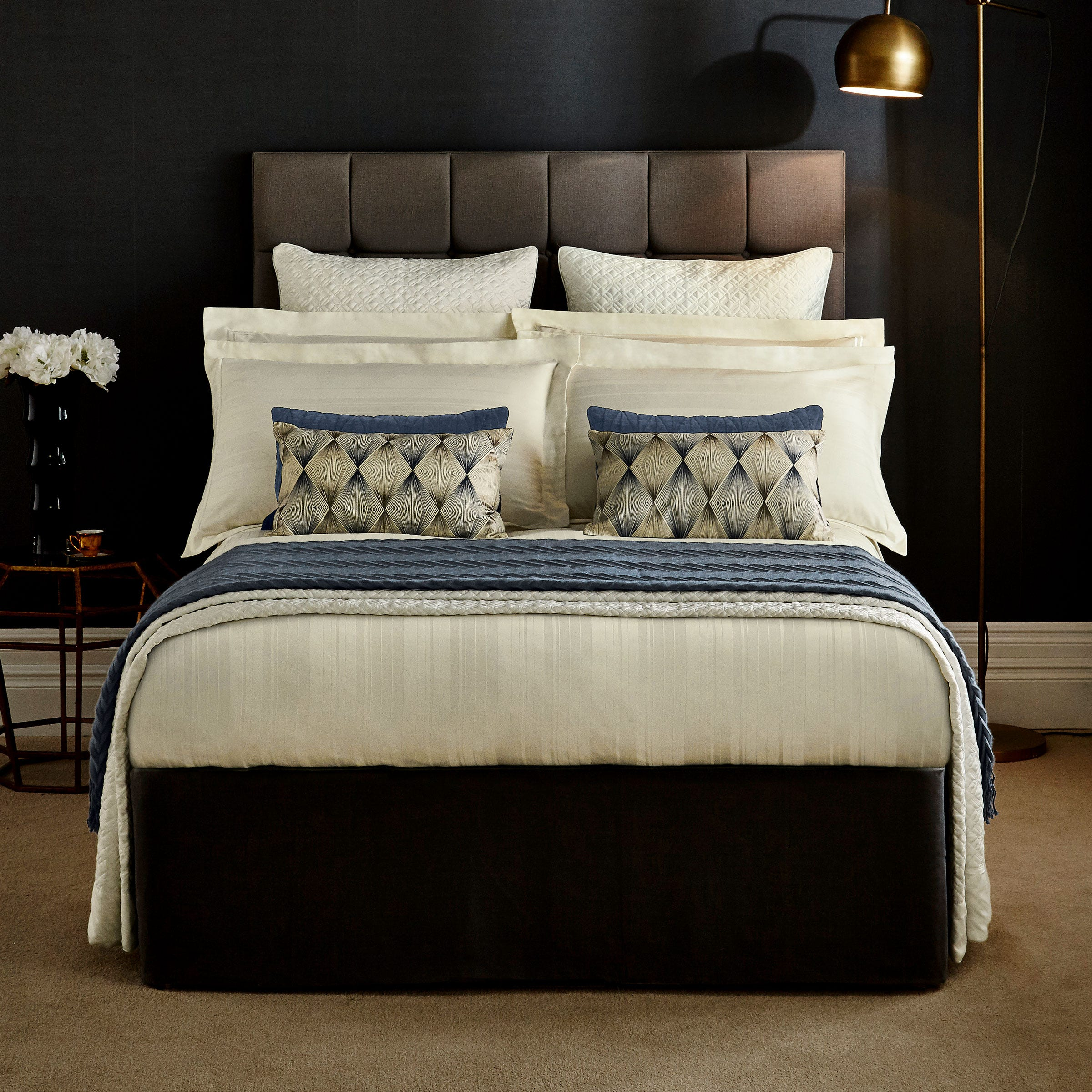 Peacock Blue Bexley Bedding in Ivory