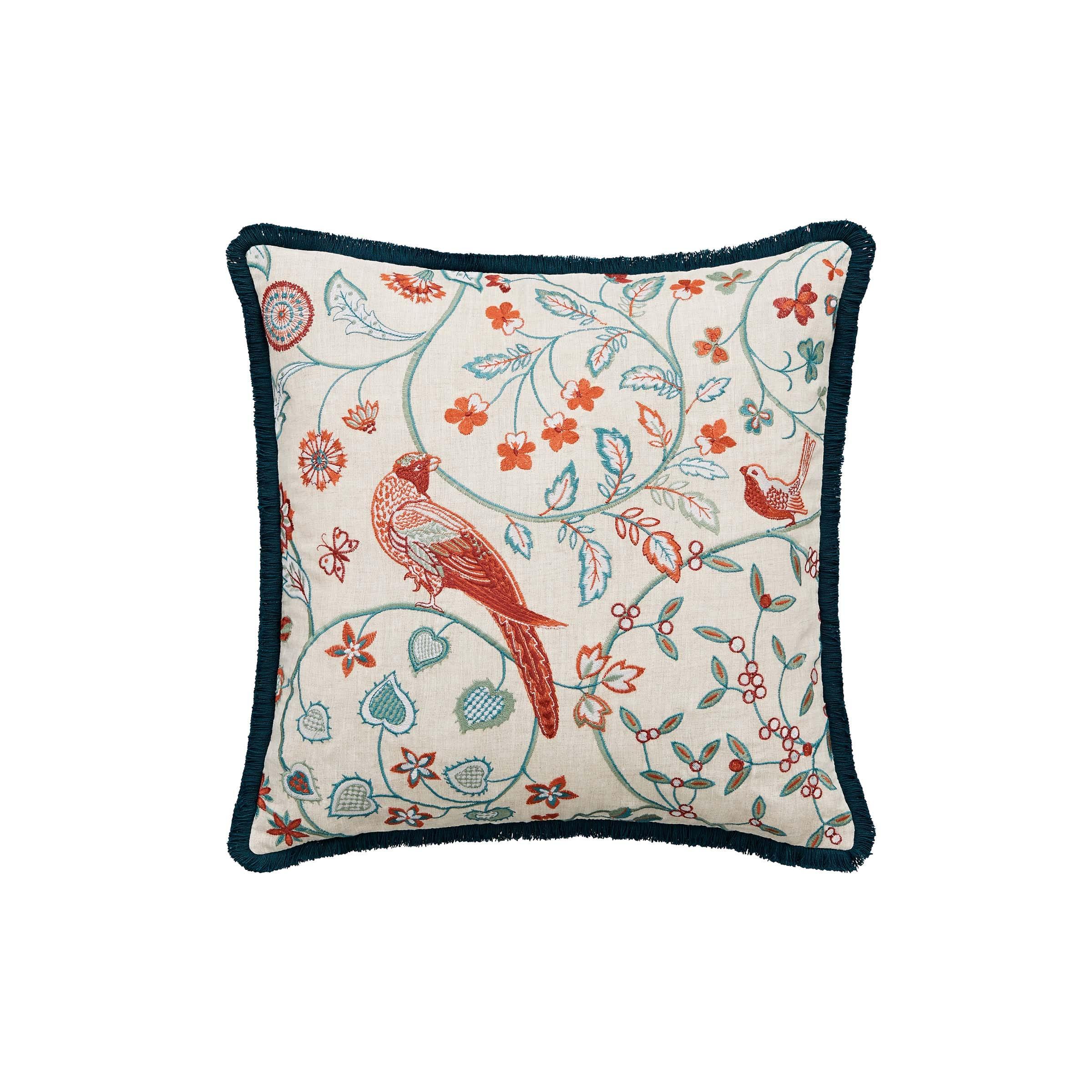 William Morris Sunflower Cushion 45cm x 45cm, Saffron & Teal
