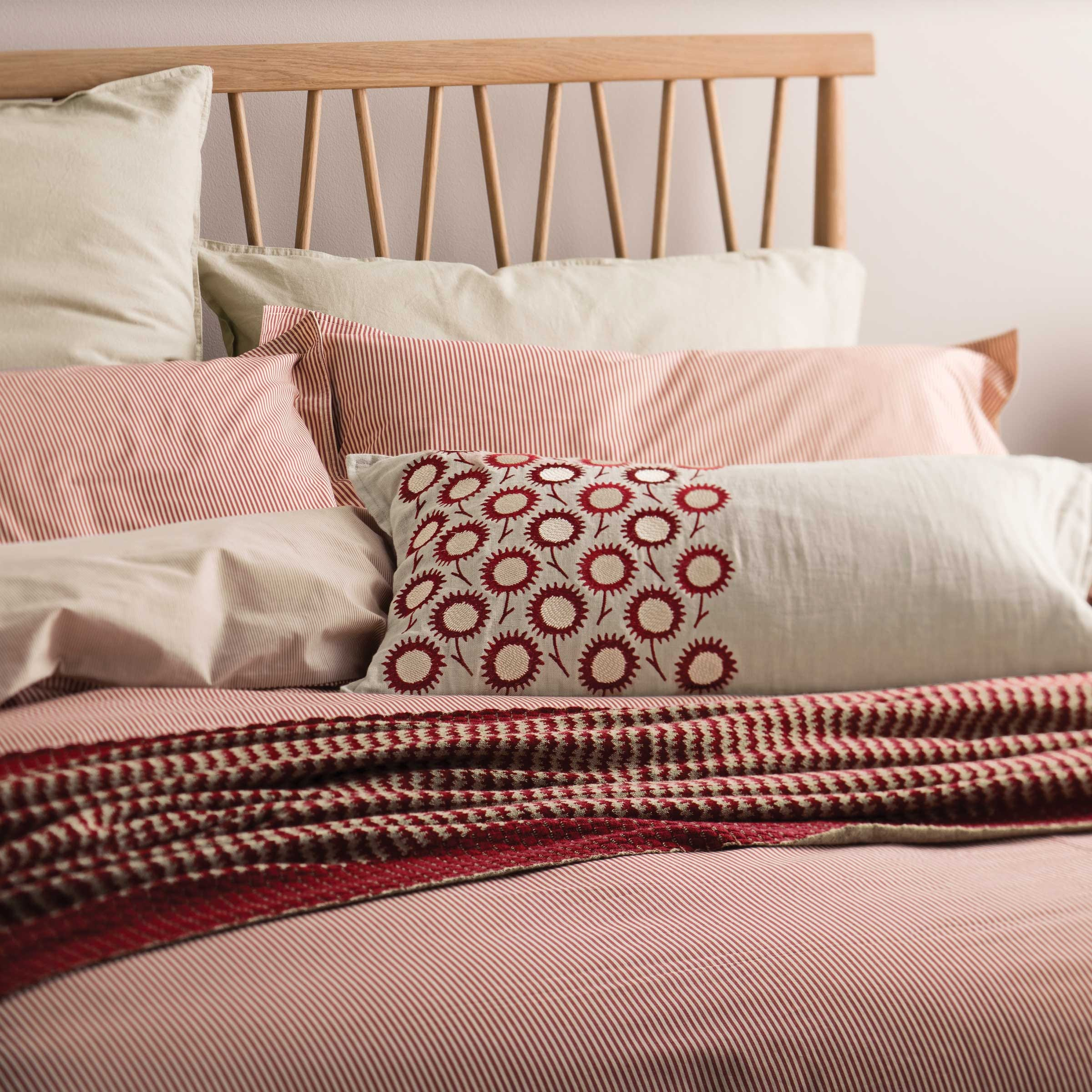Murmur Pencil Stripe Bedding in Red and Linen