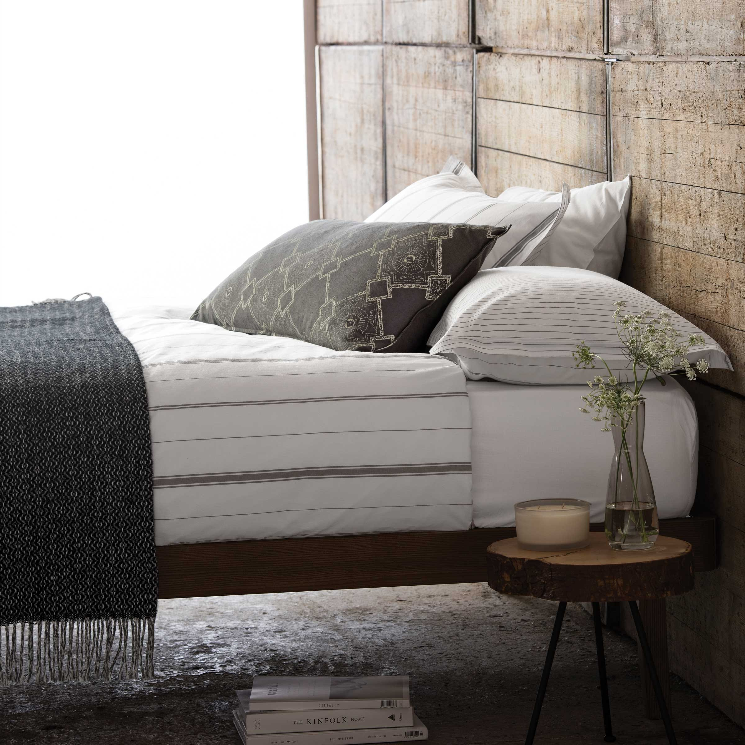 Murmur Shadow Stripe White and Grey Bedding