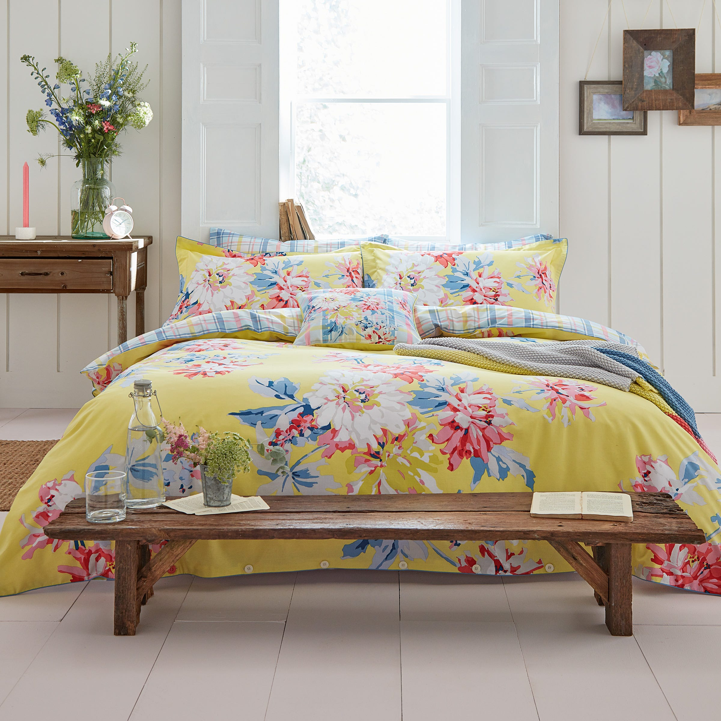 Joules Whitstable Floral Single Duvet Cover, Yellow